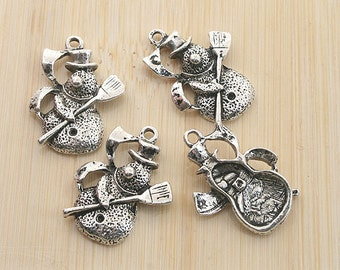16pcs antiqued silver color snowman design pendant charm G1976