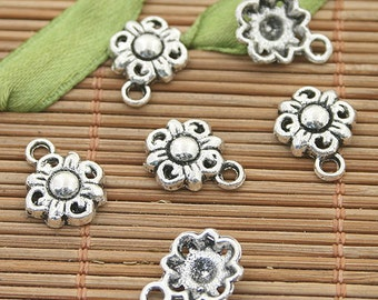 50pcs dark silver tone flower charms h3026