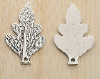 22pcs antiqued silver color leaf design pendant charm G1991