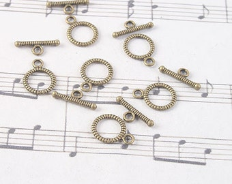 50sets antiqued bronze round toggle clasps G1002