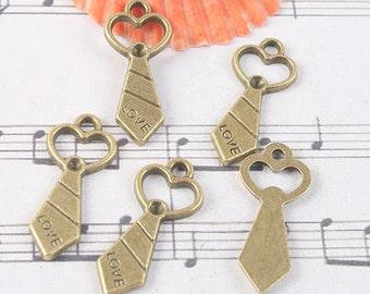 24pcs antiqued bronze love tie design pendant charm G1060
