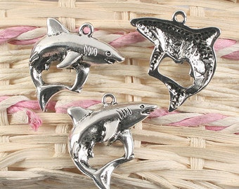 20pcs antique silver shark design pendant charm G920