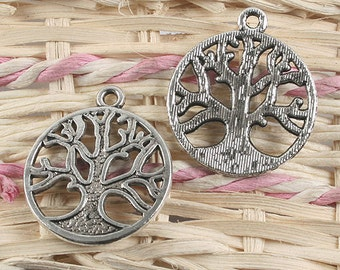 14pcs antiqued silver round tree pendant charm G923