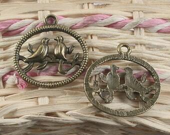 16pcs antiqued bronze couple bird pendant charm G938