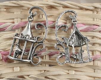 8pcs antiqued silver bird cage design pendant charm G957