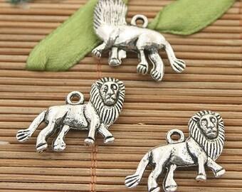 15pcs dark silver tone lion charms h3116