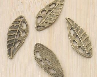 30pcs antiqued bronze leaf design pendant charm G713