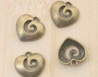 30pcs antiqued bronze heart design pendant charm G722