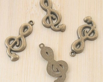 16pcs antiqued bronze music note design pendant charm G723