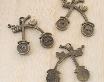 6pcs antiqued bronze Love bicycle design pendant charm G749