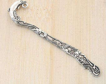 10pcs antiqued silver two sides pattern charm bookmark G775
