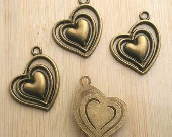 8pcs antiqued bronze heart design pendant charm G624