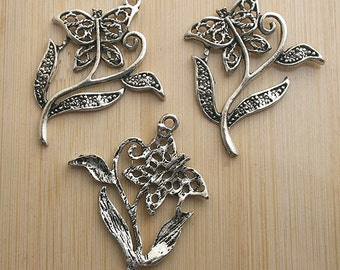 10pcs antiqued silver beatiful butterfly flower design pendant G547
