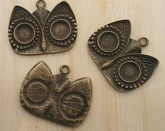 2pcs 34x41mm antique bronze owl pendants cabochon settings G415