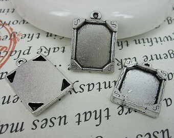 10pcs 20x16mm antiqued silver picture frame charm G447