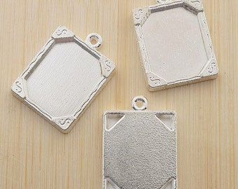 10pcs 20x16mm silver-tone picture frame charm G451