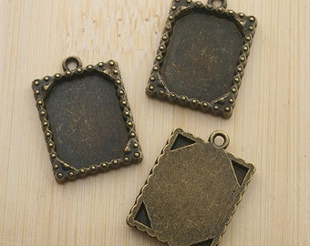 10pcs 20x16mm antiqued bronze picture frame charm G456