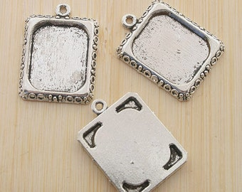 10pcs 20x17mm antiqued silver picture frame charm G459