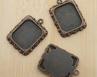 10pcs 20x17mm copper-tone picture frame pendant G471