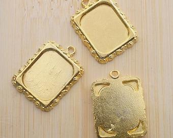 10pcs 20x17mm gold-tone picture frame pendant G472