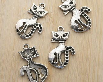 10pcs 25x15.5mm Antique Silver cute cat Charm Drop Pendant G493