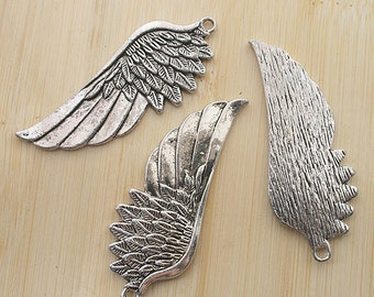 2pcs 22.2x57.5mm Antique Silver wing style Charm Drop Pendant G494
