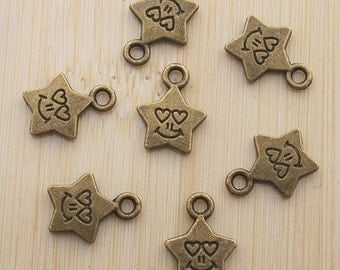 30pcs antiqued bronze smile star pendant charm G496