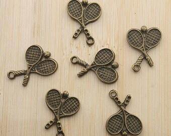 30pcs 13x19mm antiqued bronze tannis racket charms/pendants G331