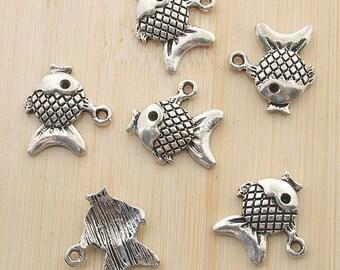 15pcs 15x17mm antiqued silver fish charms/pendants G353