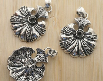 4pcs 42x27mm antique silver flower charms pendants G380