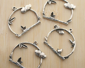 10pcs silver tree branch in ring charms pendants G201