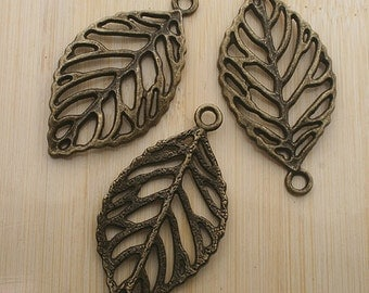 6pcs 50x27mm antique bronze leaf charms pendants G202