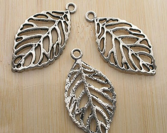 6pcs 50x27mm antique silver leaf charms pendants G203