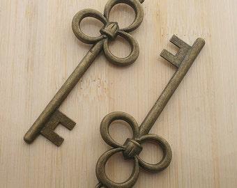 4pcs 79x31mm antique bronze three ring key charm pendants G242