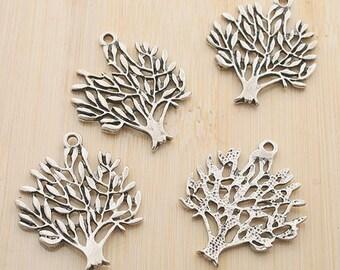 10pcs 30x25mm antique silver peace tree pendants G260