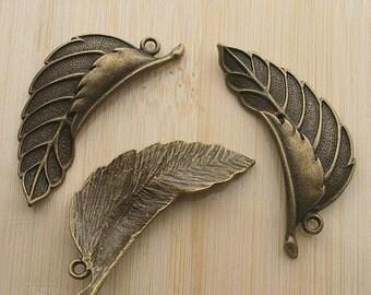5pcs 44x15mm antique bronze two leaf drop charms pendants G105