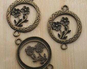5pcs antique bronze flower in hollow round connector /pendants G157