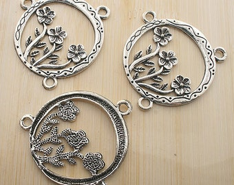 5pcs antique silver flower in hollow round connector /pendants G161