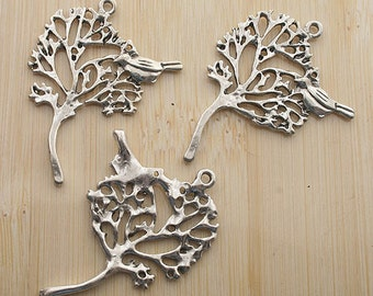 5pcs 42x32mm Antiqued Silver Bird In The Tree Charm Pendant G193
