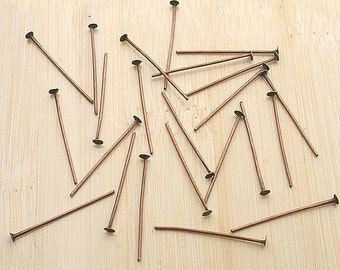 100ps 25mm antiqued copper HEADPIN pins findings G16