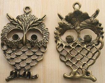 3pcs 57x37mm antique bronze owl pendants G33