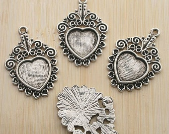 10pcs 31X21mm antiqued silver flligree heart cabochon settings G79