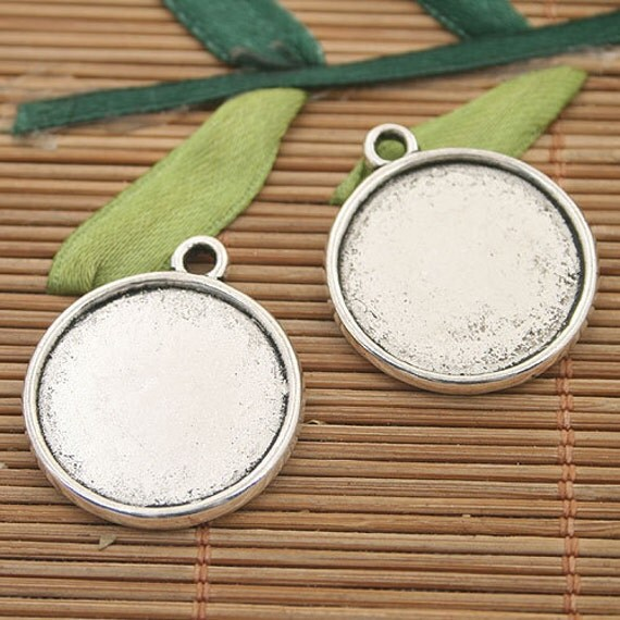 10pcs dark silver tone circle picture frame charms h3033