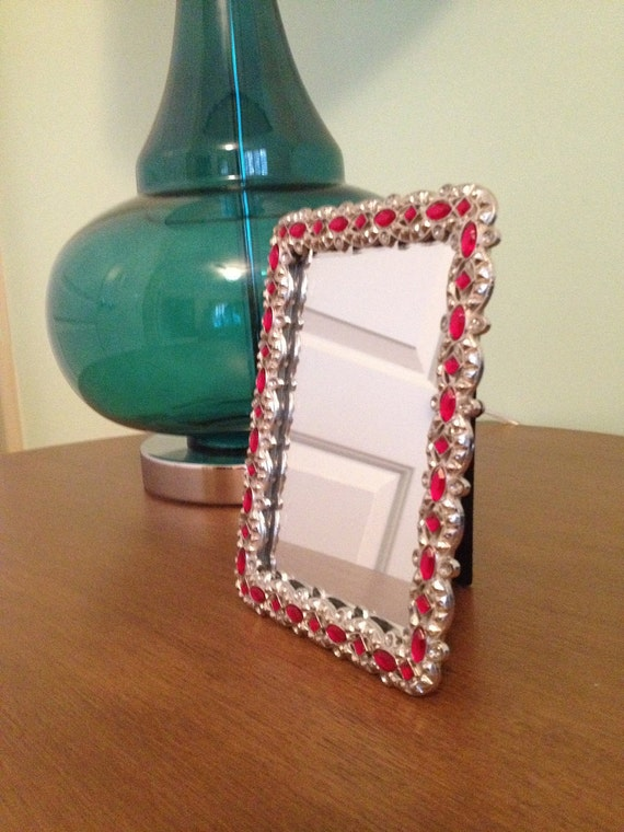 Red Jewel Frame Mirror