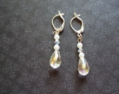 Pearl and Crystal Earrings, Teardrop Dangle Earrings, Bridal Earrings