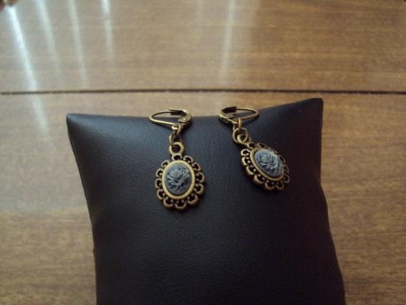 Black Rose Cameo Earrings, Cameo Dangle Earrings