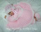 Baby/Reborn 4 peice Matinee Set knitting pattern DK 18-20 inch (BlueBell)
