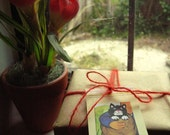Unique handmade vintage illustrated Postman Pat character gift tag