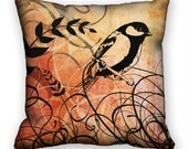Pillow Cover Decorative Design Bird Grass Leaves Brown Black Cream 18x18 ac036