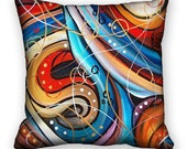 Colorful Pillow Cover Original Abstract Art  Red Blue Yellow 18x18 ac051